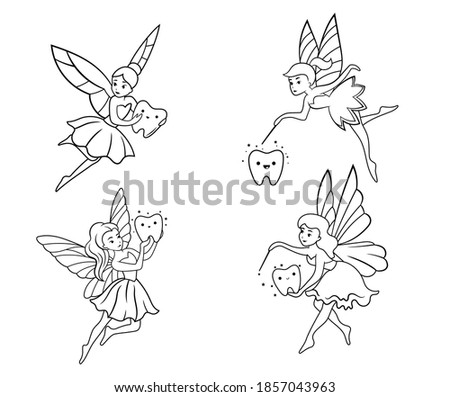 Set of tooth fairies. Collection of fairies with wings and tooth. Fairy tales creatures. Linear art. Vector illustration for children.