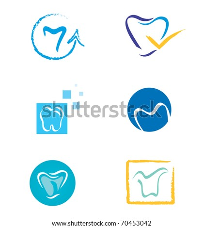 Set of Tooth Icons in Various Shapes