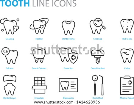set of tooth icons, such as dentist, clean, protect, treat, oral