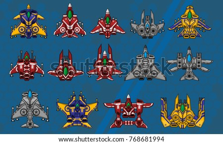 set of top down space ships for
