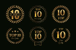 Set of top ten badges with golden gradient color design, various top 10 sign collection template vector