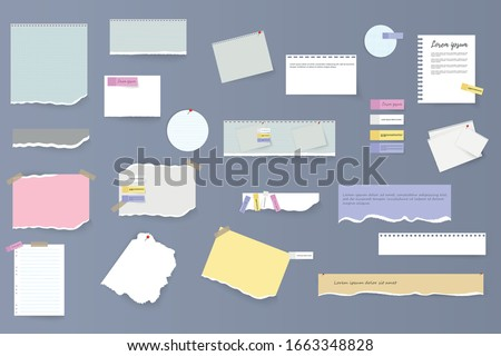 Set of torn horizontal white and colorful paper strips, notes and notebook on a gray background. Torn sheets of notebook, multi colored sheets and pieces of torn paper. Vector illustration, EPS 10.