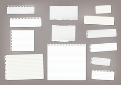 Set of torn white lined note, notebook paper strips and pieces stuck on dark brown background. Vector illustration
