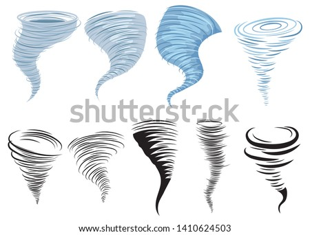 Set of tornadoes. Collection of stylized tornadoes. Vector illustration of a weather cataclysm. Hurricane.