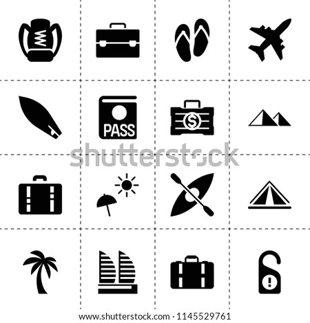 Set of 16 tourism filled icons such as passport, money case, palm, plane, case, beach umbrella, boat, dont disturb door, briefcase, mountain, suitcase, hotel, tent, backpack