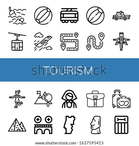 set of tourism icons such as
