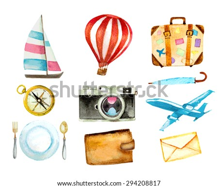 set of tourism icons. watercolor hand drawn vector illustration. sailboat, hot air balloon, luggage, umbrella, airplane, camera, compass, mail, wallet and food symbols