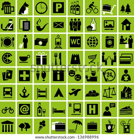Set of tourist information icons. Vector illustration