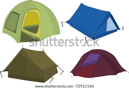Set of tourist tents - stock vector
