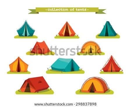 Set Of Tourist Tents Vector Illustration