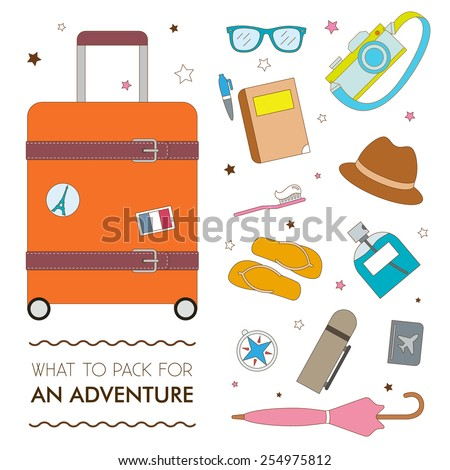Set of tourist travel luggage graphic elements, ions and illustrations