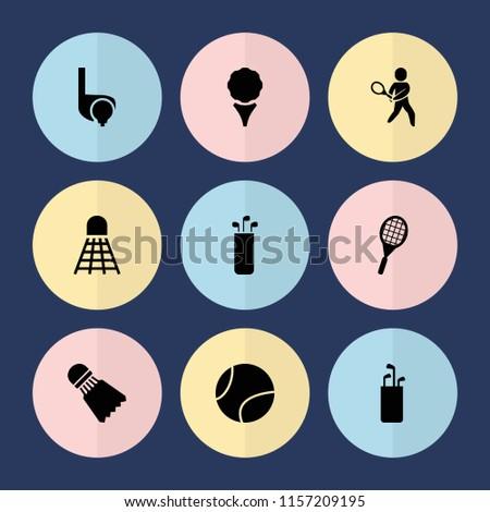 Set of 9 tournament filled icons such as golf, golf putter, tennis playing, tennis rocket, shuttlecock, tennis ball