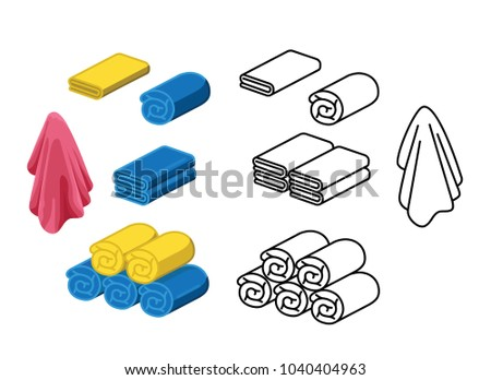Set of towel color vector illustration. roll for spa, kitchen, bath and other.Towel icon isometric.Stack fluffy kitchen Towel. rolled into a roll or scroll.cartoon folded vector towels set