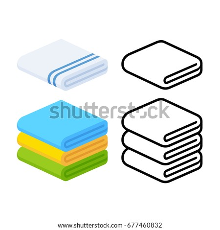 Set of towel vector illustrations. Folded towels in flat cartoon and line icon style. Foto stock ©