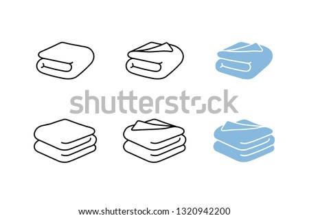 Set of towel vector illustrations. Folded towels in flat cartoon and line icon style, blanket, sheet