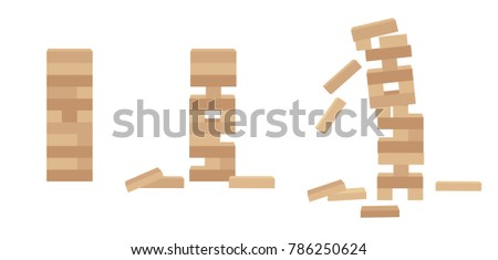Set of tower games for kids and adults. Wooden block stack balance risk puzzle toy for two or more players. Different positions. Vector illustration isolated on white background