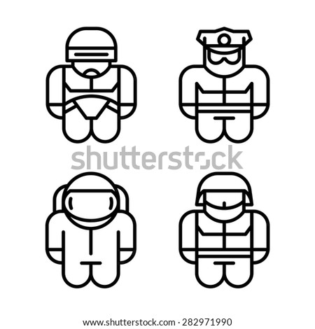 set of toy icons astronaut