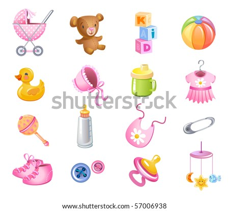 Set of toys and accessories for baby girl.