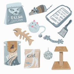 Set of toys, food, items for the cat in pastel colors. Pet Shop Product. Vector illustration.