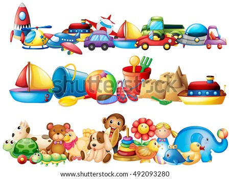 Set of toys in piles