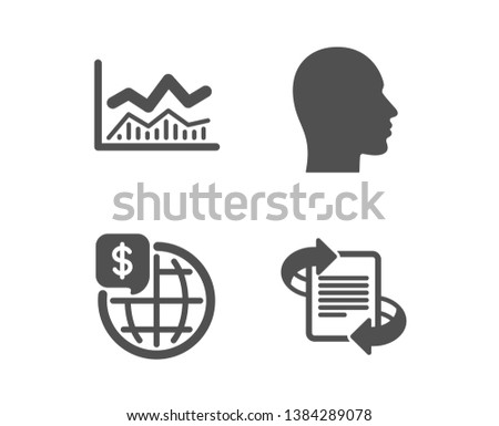 Set of Trade infochart, World money and Head icons. Marketing sign. Business analysis, Global markets, Human profile. Article.  Classic design trade infochart icon. Flat design. Vector