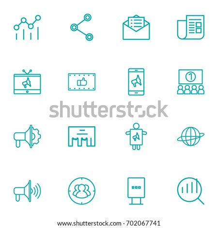 Set Of 16 Trade Outline Icons Set.Collection Of Social Media Ads, Stand, Brand Awareness Elements.