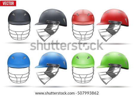 Set of Tradition Cricket Helmets. Sport symbol and equipment. Vector Illustration isolated on white background.