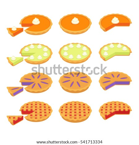 Set of traditional American pies: Pumpkin, Key Lime, Strawberry or Cherry and Blueberry pie. Whole and cut slices. Flat cartoon vector illustrations.