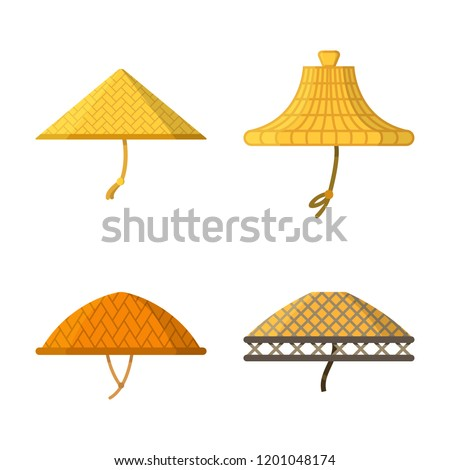 Set of traditional asian conical straw hats. Icons isolated on white background. Side view. Vector illustration in flat design.
