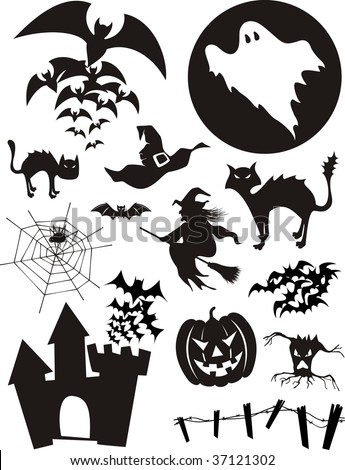 set of traditional halloween design elements, bats, pumpkin, witch, ghost, black cat and more isolated on white background