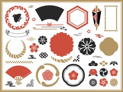 Set of traditional Japanese decorations and frames and icons.