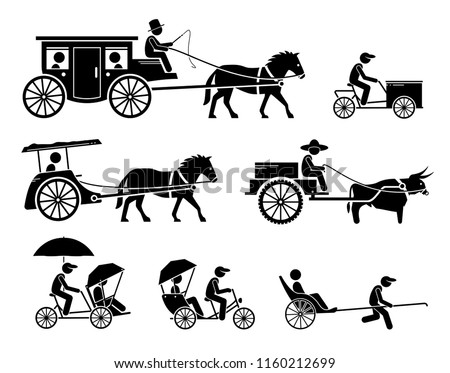 stock-vector-set-of-traditional-old-and-ancient-ground-transportations-pictograms-depict-dokar-dogcart