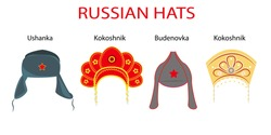 Set of 4 traditional popular russian hats: ushanka, kokoshnik, budenovka. Symbols of russian culture. Souvenir from Russia.