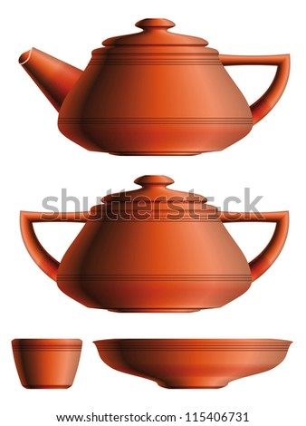 Set of traditional red ceramic teapot, sugar pot, cup and saucer. Eps10