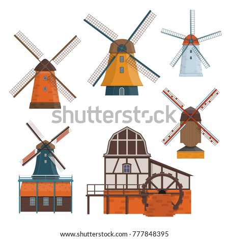 set of traditional rural