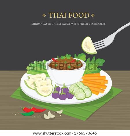 Set of Traditional Thai food, Shrimp Paste Chili Sauce (Nam Prik Ka Pi) with fresh vegetables. Cartoon Vector illustration. Zdjęcia stock ©