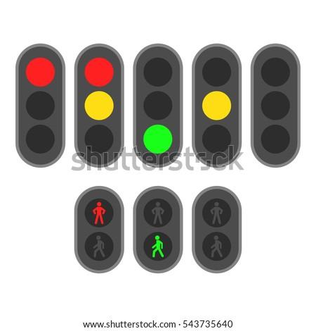 set of traffic lights flat