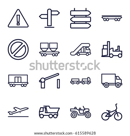 Set of 16 traffic outline icons.