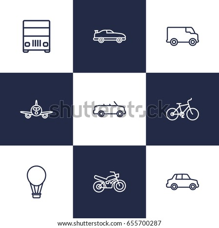 Set Of 9 Traffic Outline Icons Set.Collection Of Coupe, Lorry, Air Balloon And Other Elements.