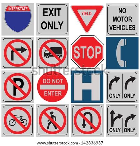 Set of traffic signals varying loads. Vector illustration.