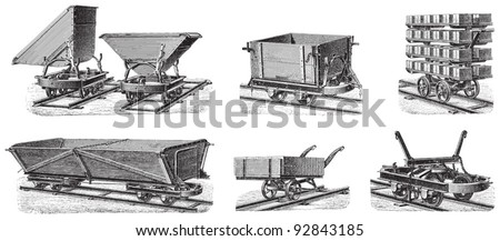 set of train carts   vintage...