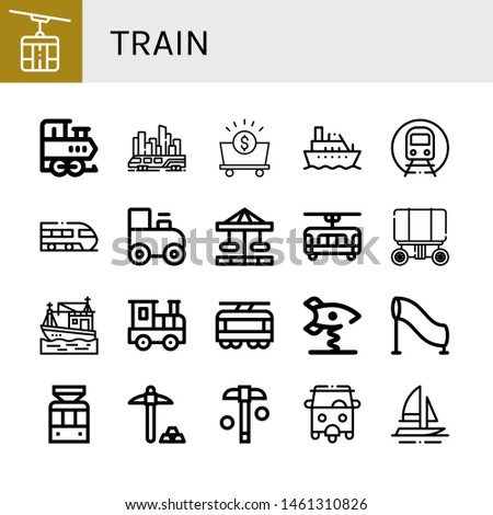 set of train icons such as