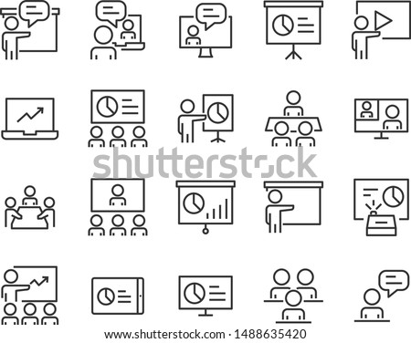 set of training icons, meeting, study, video conference