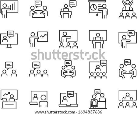 set of training icons, presentation, seminar, video conference