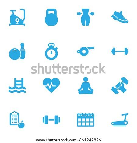 set of 16 training icons set