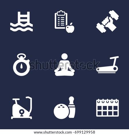 set of 9 training icons set