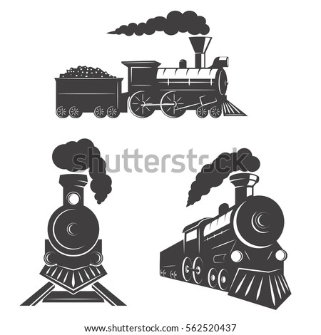 Set of trains icons isolated on white background. Design elements for logo, label, emblem, sign, brand mark. Vector illustration.