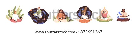 Set of tranquil women with closed eyes and croosed legs meditating in yoga lotus posture. Meditation practice. Concept of zen and harmony. Colored flat vector illustration isolated on white background Сток-фото ©