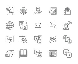 Set of translator Related Vector Line Icons. Includes such Icons as science, languages, work, countries, geography, English, Russian, Chinese, Spanish, French, operator, help, book - vector