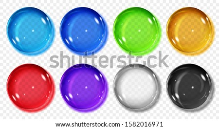 Set of translucent colored spheres with shadows on transparent background. Transparency only in vector format
